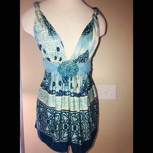 SKY BLUE LEATHER JEWELED SILK BABY DOLL TUNIC TOP